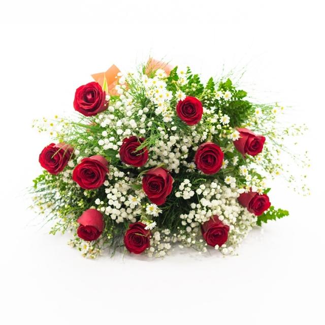 Buquê 12 Rosas Vermelhas Nacionais