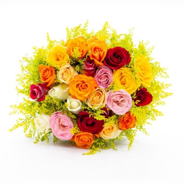 Buquê 24 Rosas Coloridas Moderno